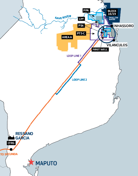 Sasol interests in southern Mozambique (Map credit: Sasol)